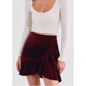 URBAN OUTFITTERS Burgundy Velvet Skirt XL NWOT